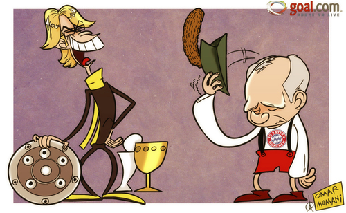 Cartoon: Humble pie (medium) by omomani tagged bayern,munich,bundesliga,dortmund,hoenes,jurgen,klopp