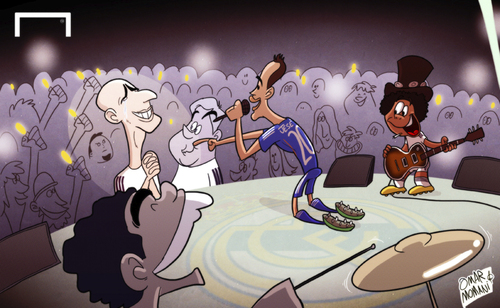 Cartoon: Jese living the dream (medium) by omomani tagged ancelotti,jese,la,liga,marcelo,pepe,real,madrid,zinedine,zidane