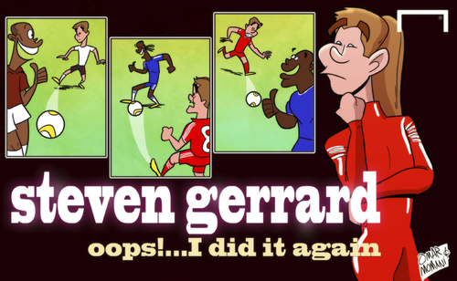 Cartoon: Oops! I did it again Gerrard (medium) by omomani tagged arsenal,chelsea,demba,ba,drogba,henry,liverpool,premier,league,steven,gerrard
