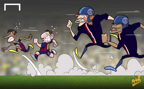 Cartoon: PSG out to stop Messi and Neymar (medium) by omomani tagged barcelona,blanc,champions,league,david,luiz,messi,neymar,paris,saint,germain,thiago,silva