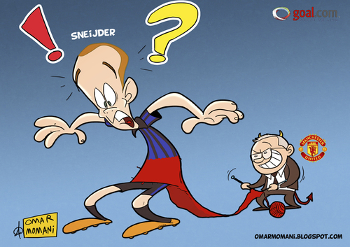Cartoon: Sneijder deal to Man Utd (medium) by omomani tagged sneijder,ferguson,manchester,united,inter,milan,holland,scotland,england,italy,seire,premier,league
