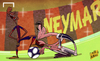 Cartoon: Bale at Neymar mercy after Clash (small) by omomani tagged barcelona,camp,nou,clasico,gareth,bale,neymar,real,madrid