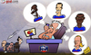 Cartoon: Deschamps calls on old friends (small) by omomani tagged benzema,didier,deschamps,emmanuel,petit,france,henry,marcel,desailly,nasri,patrice,evra,ribery,zinedine,zidane
