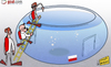 Cartoon: England make a splash (small) by omomani tagged andy,carroll,england,poland,rooney,steven,gerrard,world,cup,qualifications