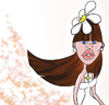 Cartoon: Flora (small) by omomani tagged flora,flower,woman,girl,white,lip,blue,eyes,hair,long