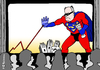 Cartoon: The Strompreis-Man (small) by Pfohlmann tagged karikatur,cartoon,color,farbe,2013,deutschland,spd,steinbrück,kandidat,kanzlerkandidat,strompreis,strompreisbremse,superheld,superman,kino,leinwand,thema,kampagne,bundestagswahl,wahlkampf,bundestagswahlkampf,stromkonzerne,energiekonzerne