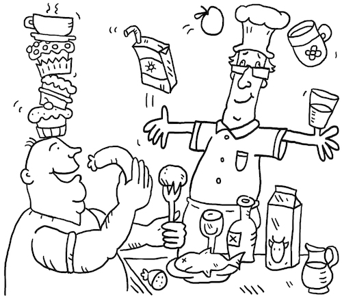 Cartoon: Essen Koch (medium) by sabine voigt tagged essen,koch,kochen,diät,wellness,restaurant,wurst,fleisch,vegetarier,veganer