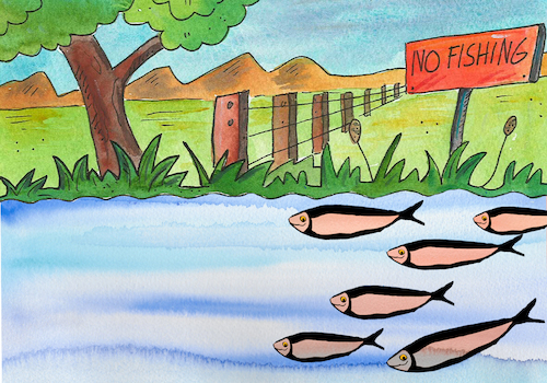 Cartoon: no fishing (medium) by sabine voigt tagged fischerei,angeln,verbot,sport,see,wasser,fische
