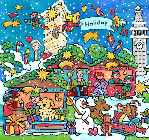 Cartoon: Weihnachten New York (medium) by sabine voigt tagged new,york,christmas,weihnachten,weihnachtsmann,schlitten,winter,rentier,elch,geschenke,glauben
