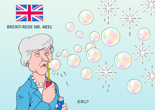 Cartoon: Brexit-Rede (medium) by Erl tagged politik,brexit,austritt,großbritannien,gb,uk,eu,theresa,may,verzögerungstaktik,reden,versprechungen,seifenblasen,karikatur,erl,politik,brexit,austritt,großbritannien,gb,uk,eu,theresa,may,verzögerungstaktik,reden,versprechungen,seifenblasen,karikatur,erl