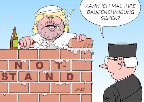 Cartoon: Trump Notstand (medium) by Erl tagged politik,usa,präsident,donald,trump,wahlversprechen,bau,mauer,grenze,mexiko,finanzierung,haushalt,kongress,demokraten,kompromiss,ausrufung,notstand,grundlos,klage,sammelklage,us,staaten,richter,gericht,maurer,karikatur,erl,politik,usa,präsident,donald,trump,wahlversprechen,bau,mauer,grenze,mexiko,finanzierung,haushalt,kongress,demokraten,kompromiss,ausrufung,notstand,grundlos,klage,sammelklage,us,staaten,richter,gericht,maurer,karikatur,erl