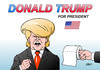 Cartoon: Donald Trump (small) by Erl tagged donald,trump,präsidentschaftskandidat,republikaner,usa,fernsehduell,rassismus,sexismus,klopapier,karikatur,erl