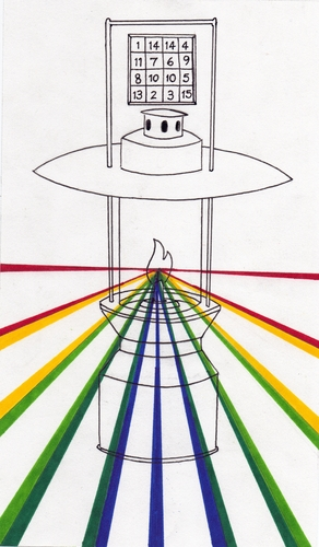 Cartoon: Shed Light (medium) by robobenito tagged lantern,drawing,light,spectrum,shed,pen,pencil,ink,color,torch,wisdom,learning,shine,shining,illumination,glow,beams,numbers,puzzle,flame,sight,vision,truth,justice,path,rainbow,full,brilliant