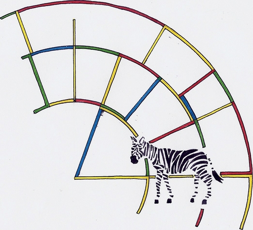 Cartoon: zzz-xebra (medium) by robobenito tagged zebra,animal,stripes,color,rainbow,spectrum,mammal,fantasy,dream,clockwork,structure,surreal,environment,science,fiction,ink,pencil,colors,animals,horse,arch,planet