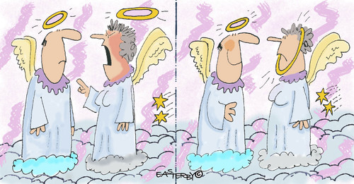 Cartoon: Even angels argue! (medium) by EASTERBY tagged arguing,angels,engel,himmel
