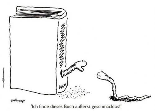 Cartoon: Geschmacklos (medium) by EASTERBY tagged bookworms,literature,books