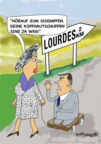 Cartoon: Lourdes (medium) by EASTERBY tagged lourdes,miracles,cures
