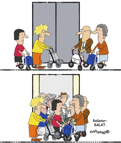 Cartoon: Rollator Salat (medium) by EASTERBY tagged rollatoren,senioren,old,peoples,home,rollatoren,senioren,old,peoples,home