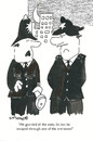 Cartoon: exits and entrances (small) by EASTERBY tagged police watching waiting