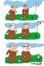 Cartoon: HOLY ORDERS 5 (small) by EASTERBY tagged monks,halos,praying,golf
