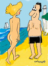 Cartoon: Walk on the beach (small) by EASTERBY tagged beach,summer,ladies
