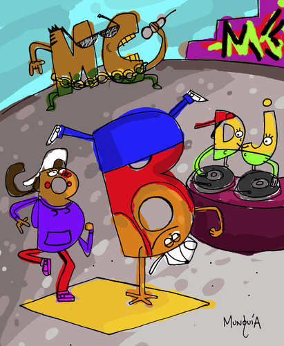 Cartoon: B Boy B Girl Mc and DJ (medium) by Munguia tagged hip,hop,rap,zulu,nation,break,dance,mc,dj,bboy,bgirl