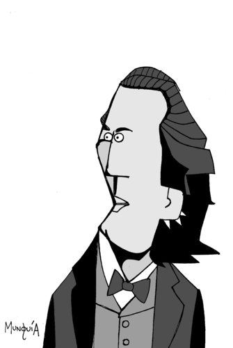Cartoon: Eminescu (medium) by Munguia tagged eminescu,romanian,romania,writter,munguia,costa,rica,portrait