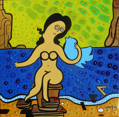Cartoon: Leda and the Twitter (medium) by Munguia tagged leda,and,the,swan,salvador,dali,atomica,atomic,famous,paintings,parodies,social,network,internet,profile