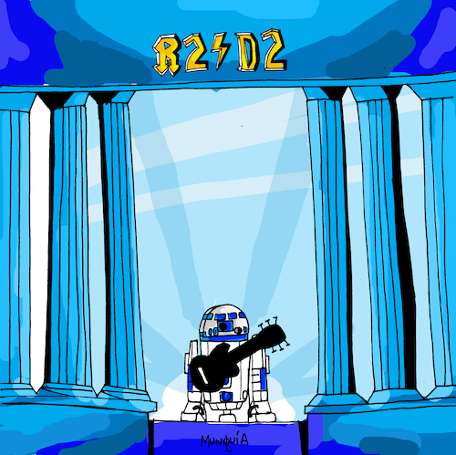 Cartoon: R2 D2 (medium) by Munguia tagged acdc,who,made,cover,album,parodies,parody,famous,disc,star,wars,robot