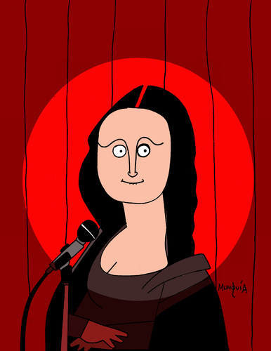 Cartoon: Stand up comedy (medium) by Munguia tagged stand,up,comedy,stage,show,mona,lisa,monalisa,davinci,leonardo,gioconda,microphone,light,spotlight,fun,cartoon,munguia,calcamunguias