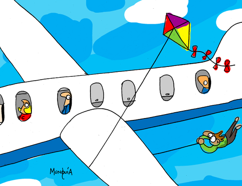 Cartoon: The Danger of flying kites (medium) by Munguia tagged caricatura,cartoon,rica,costa,munguia,airline,accident,flying,fly,air,plane,kite