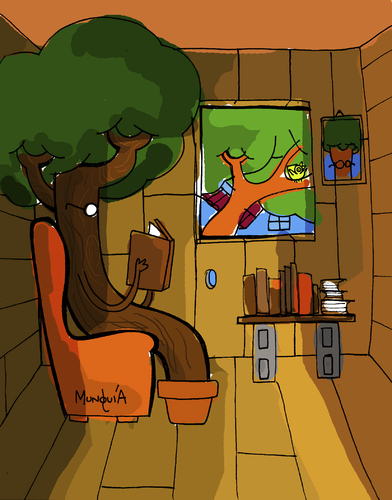 Cartoon: The Tree House (medium) by Munguia tagged tree,house,literal,munguia,costa,rica