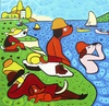Cartoon: Bathers (small) by Munguia tagged bathers,at,asnieres,george,seurat,famous,paintings,parodies,parody,cartoon,dogs,perros