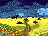 Cartoon: Bats (small) by Munguia tagged wheatfield,with,crows,bats,vampires,parody,version,van,gogh