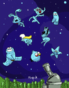 Cartoon: Blue heavenly bodies (small) by Munguia tagged blue,smurfette,gumball,mother,avatar,girl,pitufina,cookie,eater,mounster,angry,bird,stars,planets,sky