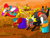 Cartoon: Bull attack (small) by Munguia tagged gleaners,espigadoras,francois,millet,famous,paintings,parodies,bull,attack