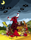 Cartoon: Bulls (small) by Munguia tagged witches,sabbath,francisco,de,goya,coven,bulls,basketball