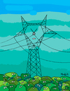 Cartoon: Electric Tower (small) by Munguia tagged tower,electric,natural,destruction