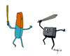 Cartoon: Erase vrs Delete (small) by Munguia tagged erase,delete,key,keyboard,eraser,deleter,sword,fight,munguia