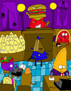 Cartoon: Food Court (small) by Munguia tagged court foodcourt food judge jury lawyer pizza hamburguer hotdog cookie pie cake piece salad write machine writer secretary typer munguia costa rica humor grafico cartoon toon caricatura arte dibujos drawing