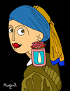 Cartoon: Girl with Pearl Jam Earrings (small) by Munguia tagged pearl,jam,earring,vermeer,girl,with,perla,jalea