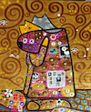 Cartoon: Hugs (small) by Munguia tagged famous,paintings,parodies,gustav,klimt,parody,verion,cats,gatos,kitten,kitty