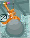 Cartoon: Miley Bronto Cyrus (small) by Munguia tagged miley,cyrus,brontosaurio,wrecking,ball,parody,dinosaur