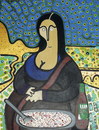 Cartoon: Mona Lizano (small) by Munguia tagged monalisa da vinci leonardo gioconda lizano salsa comida meal costa rica pop