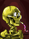 Cartoon: Party Skeleton (small) by Munguia tagged skeleton with cigarrette cigar smoking skull painting horror famous van gogh vincent parody