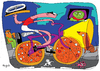 Cartoon: pizzicleta (small) by Munguia tagged pizzapitch,bike,cicle,munguia,pizza,italian,race,food,street