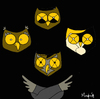 Cartoon: Rapsodia Buhemia (small) by Munguia tagged buos,owl,queen,bohemian,rapsody,freddy,mercury,music,england,munguia,calcamunguias,cd,cover,album