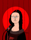 Cartoon: Stand up comedy (small) by Munguia tagged stand up comedy stage show mona lisa monalisa davinci leonardo gioconda microphone light spotlight fun cartoon munguia calcamunguias