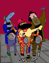 Cartoon: The Hole - 3 poor musicians (small) by Munguia tagged music,singers,band,poor,hungry,hunger,hambre,empty,starving,street,urban,homeless,artist,public