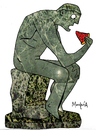 Cartoon: I eat therefore I think (small) by Munguia tagged pizzapitch,sculpture,escultura,the,thinker,el,pensador,rodin,parody,parodies,pizza,slice,munguia,costa,rica,humour,humor